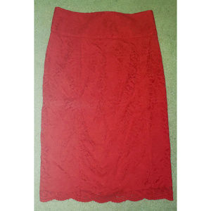 Express Lace Pencil Skirt Coral Size 8 NWT